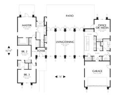 Main Floor Plan of Mascord Plan 1240 - The Hampton - Surround Yourself with Natural Beauty