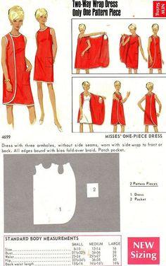 El vestido-bata sin cierres (el retro el patrón) \/ los Patrones del retro \/ la SEGUNDA CALLE