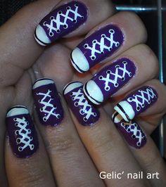 Gelic' nail art: Purple Converse shoes nail art Converse Nail Art, Purple Converse, Converse Shoes, Gorgeous Nails, Pretty Nails, Shoe Nails, Nails Polish, Funky Nails, Holiday Nails