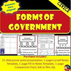 Forms of Government Lecture Power Point & Comparison Chart (CIVICS) This creative 15-slide power point presentation reviews the forms of government: unitary, con-federal and federal. For an assessment, students create a graphic organizer comparing the advantages and disadvantages of each form of government.