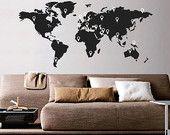 Monde carte murale Sticker autocollant avec pointeurs