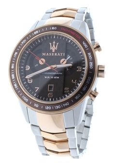 Maserati R8873610004 Men's Two-Tone Chronograph Stainless Steel Watch Brown Dial Rose Gold Accents