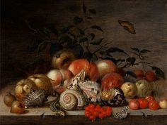 Балтазар ван дер Аст. Натюрморт с раковинами и фруктами на столе