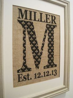 Personalized Burlap Monogram PrintPersonalized by SunBeamSigns, $21.00