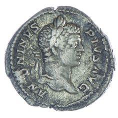 Caracalla Denar Silber, Av: ANTONINVS PIVS AVG belorbeerter Kopf nach rechts, Rv: VOTA SVSCEPTA X verschleierter Caracalla nach links über Altar opfernd