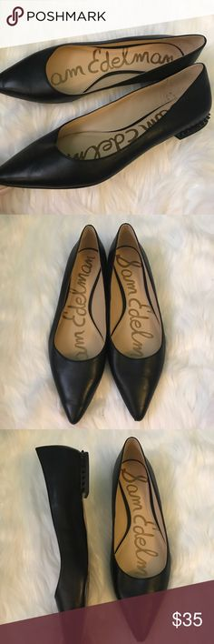 Sam Edelman Black Faux Leather Stud Flats Size 9 Sam Edelman in a gorgeous black Faux Leather with spike stud detail on the back of the heel, all present none missing. Excellent condition. Size 9. Make an offer. 🖤 Sam Edelman Shoes Flats & Loafers