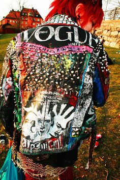 Amazing Studded, Spiked, Painted VOGUE Jacket bright colours
