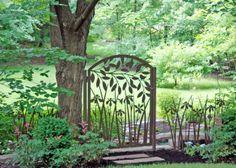 Leafy Branch over Iris Garden Gate by Trellis Art Designs