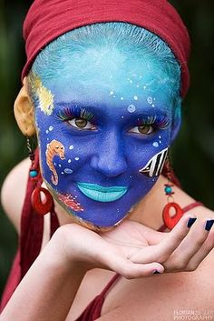 Sea Water Life Face Painting Girl