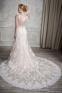 kenneth winston fall 2016 bridal sleeveless strap v neck full embellishment elegant fit and flare a line wedding dress illusion back chapel train (1678) bv