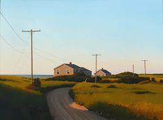 Jim Holland - Present), American Artist - Shore Road - 30 x 40 Edward Hopper, Jack Vettriano, Landscape Artwork, Fantasy Landscape, Environment Painting, Beach Artwork, Beach Paintings, Building Painting, Nostalgia