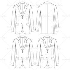 Vector slim fit mens jacket fashion sketch, 2 button single breasted with notch lapel and slanted flapped pockets.