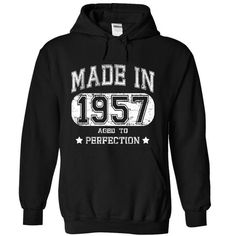Made in 1957 T Shirts, Hoodies. Check Price ==► https://www.sunfrog.com/Funny/Made-in-1957--part-1-2450-Black-15796830-Hoodie.html?41382