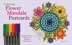 Coloring Flower Mandala Postcards: 20 Hand-Drawn Designs for Mindful Relaxation (Paperback) Beach Coloring Pages, Printable Flower Coloring Pages, House Colouring Pages, Fish Coloring Page, Coloring Pages For Boys, Adult Coloring, Coloring Books, Colorful Wall Art, Colorful Flowers