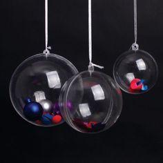Amazon.com: AerWo 30mm Transparent Fillable Ball Bauble Christmas Ornament Party Decoration, 10 Pieces: Home & Kitchen