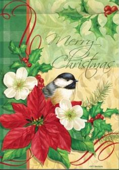 Elegant Merry Christmas Chickadee Poinsettia House Flag 28 x 40 *** To view further for this item, visit the image link. Christmas Tree Bows, Merry Christmas To All, Vintage Christmas Cards, Xmas Ornaments, Xmas Tree, Christmas Photos, Vintage Cards, Christmas Holidays, Garden Flag Stand