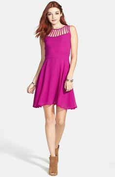 Perfect look for a teen. Love the cut outs. Socialite Lattice Yoke Skater Dress at Nordstrom #teenstyle #dress