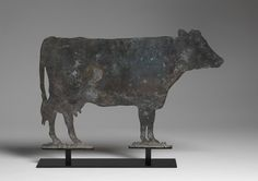 Robert Young Antiques - Folk Art Collection. Figurative Silhouette Cow Form Dairy Trade Sign #FolkArt