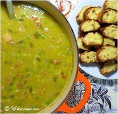 Award Winning Split Pea Soup with Gouda Crostini...the best I have ever tasted...John loved!  I used yellow split peas, found at Lassens...and bacon instead of salt pork.  Baked the bacon...using grease for sautéing.