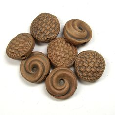BHClaysmith Ceramic clay basketweave and swirl molded button beads.