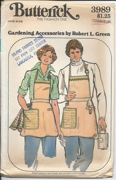 1970s Vintage GARDENING ACCESORRIES Unisex APRON with Transfers Sewing Pattern - Factory Folded. $8.00, via Etsy.