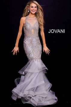 a4ed4c74a53 Silver High Neck Embellished Mermaid Prom Dress 59872
