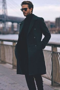 simple // menswear, mens fashion, mens style, peacoat, sunglasses, sweater