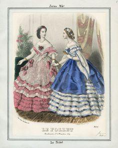 1861. evening dresses, Le Follet, June.