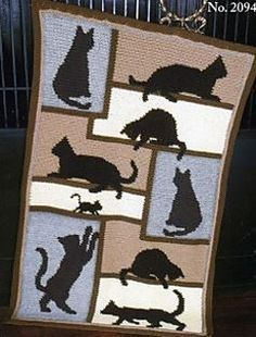 Cat silhoutte Afghan by Mary Maxim. http://www.ravelry.com/patterns/library/cat-silhouette-afghan