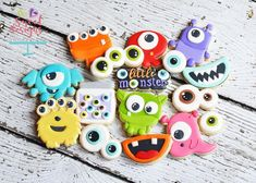 Monster Mouth One – Sweet Designs Shoppe Monster 1st Birthdays, Monster Birthday Parties, Monster Party, Monster Cakes, Birthday Ideas, Iced Cookies, Royal Icing Cookies, Sugar Cookies, Cookies For Kids