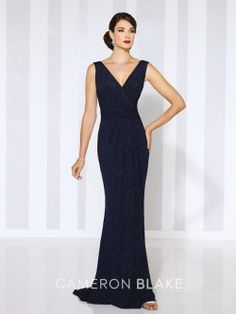 Cameron Blake 116658 Formal Dress with V Neckline