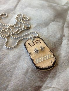 LIFT Designer DOGTAG jewelry, sports jewelry, weight lifter, dumbell, crossfit, workout, gym, trainer, coach, olympics, strong, fitness on Etsy, $16.00