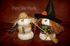 Sock scarecrow and witch. A craft everyone can do, because everyone wears socks. Sock Snowman Craft, Sock Crafts, Snowman Crafts, Cute Crafts, Resin Crafts, Crafts For Kids, Scarecrow Crafts, Halloween Crafts, Halloween Decorations