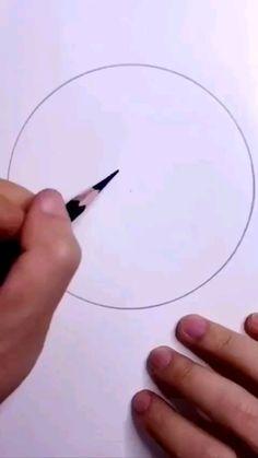 Beautiful Pencil Drawings, Art Drawings Sketches Simple, Pencil Art Drawings, Circle Drawing, 3d Art Drawing, Painting & Drawing, Diy Canvas Art, Art Tutorials, How To Sketch