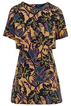Photo 1 of Leaf Print Overlay Dress