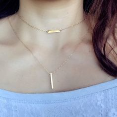 Gold Vertical horizotal  Bar Necklace set Modern by PureOneJewelry