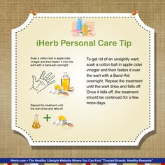iHerb Personal Care Tip: Apple cider is one great way to get rid of warts.