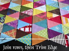 Triangle piecing tutorial by StitchedInColor, via Flickr