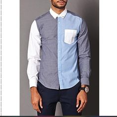 Forever 21- 21 Men Colorblocked Chambray Shirt A slim fit chambray shirt featuring a Colorblocked pattern. Button down collar. Patch chest pocket. Full button placket. Long sleeves with button cuffs. Woven. Unlined. Lightweight. 100% cotton. Forever 21 Tops