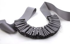 Chunky Grey Crystal Pleated Ribbon Necklace. $44.00, via Etsy.