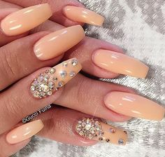 Peachy and gemstone accented coffin nails