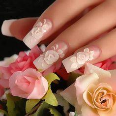 3D white roses nail art design Bridal, French