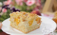 Пирог с  нектаринами, рикоттой и ванильным пудингом | Кулинарные рецепты от «Едим дома!»