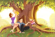Under The Fig Tree A family portrait commission…so fun to do :) Family Drawing, Children's Book Illustration, Clipart, Love Art, Family Portraits, Art Drawings, Character Design, Sketches, Photoshop