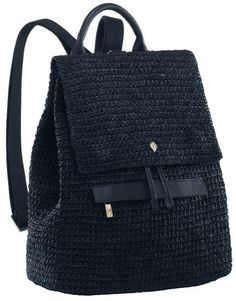 A modern and ultra chic crochet backpack with leather contrast. Features drawstring closure and zip pocket, it is a great everyday bag. Crochet Backpack Pattern, Free Crochet Bag, Black Backpack, Backpack Bags, Leather Backpack, Crochet Handbags, Crochet Purses, Crochet Accessories, Bag Accessories