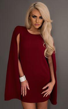 Ellen Cape Dress in Wine