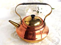 Copper and Brass Kettle, Vintage Copper Kettle, Retro Kettle, Vintage Kitchen, Retro Kitchen, Copper Craze, Retro Copper/Brass Kettle by AgedwithGraceVintage on Etsy