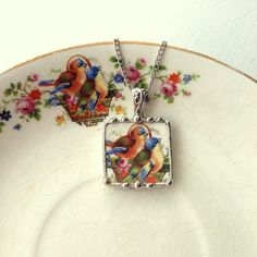 Sweet bluebirds broken china jewelry pendant necklace made from a broken antique plate