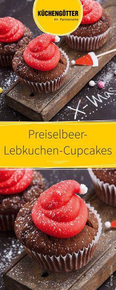 Rezept für Preiselbeer-Lebkuchen-Cupcakes zu Weihnachten