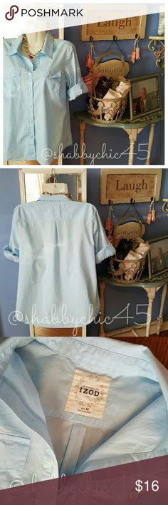 Sweet Soft Blue Izod Button Down Blouse EUC Precious soft blue lightweight button down blouse from Izod with front pockets and loop strap three quarters sleeves. So cute! Like New! 100 % Cotton. Izod Tops Blouses